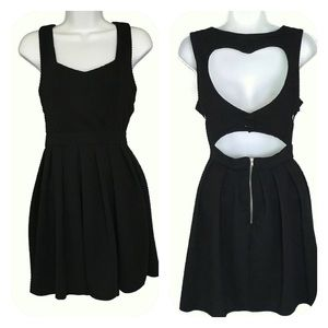 Poetry Black Empire Waist Dress Heart Cut out  M